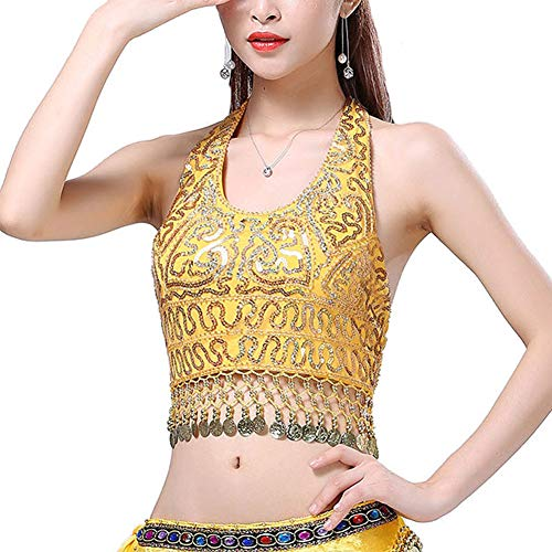 Yellow Sequin Top (Seevy Womens Sequin Halter Bra Top Salsa Belly Dance Boho Festival Clubbing Tribal Crop Top)