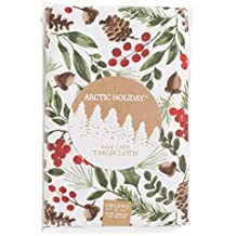 Arctic Holidays Mistletoe, Pinecones and Berries Fabric Tablecloths Table Linens (60 x 120 IN Oblong)