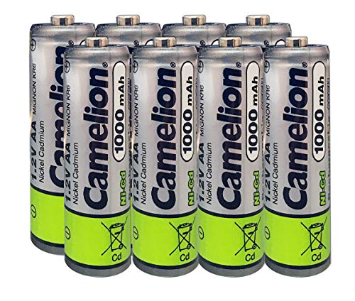 (Camelion AA Size NiCd Nickel Cadmium 1.2V 1000 mAh Rechargeable Battery for Solar Garden Lights (8)