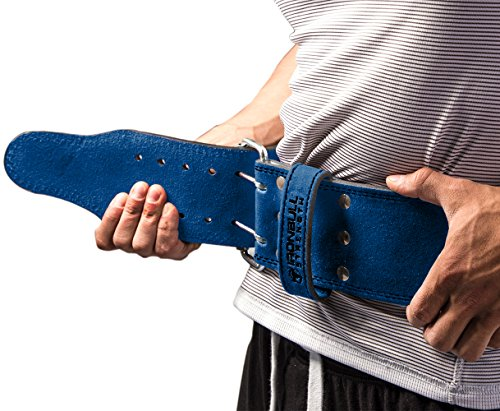 Iron Bull Strength Powerlifting Belt - 10mm Double Prong - 4-inch Wide - Heavy Duty for Extreme Weight Lifting Belt (Blue, Medium) by Iron Bull Strength (Image #3)