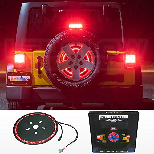 LEDGlow Spare Tire LED Third Brake Light for 2007-2018 Jeep Wrangler JK - Plug & Play with Factory Connectors - Splice-Free Installation - - Light Brake Jeep