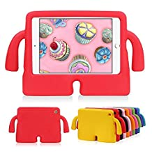 HCHA iPad Mini 4 3 2 1 Kids Case Kids Friendly Shockproof Full Protective Cases Light Weight EVA Foam Carry Handles Case for iPad Mini 1/2/3/4 NOT for iPad 2/3/4 or iPad Air (Red)