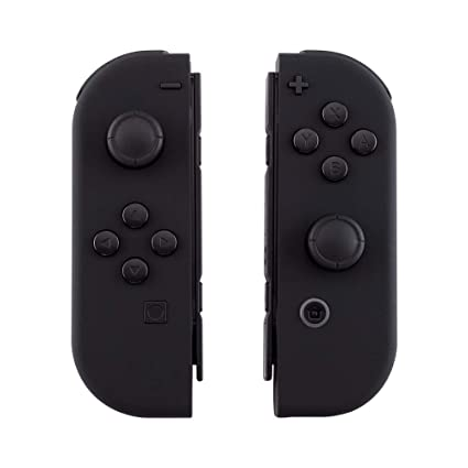 eXtremeRate Soft Touch Grip Black Joycon Handheld Controller Housing Shell  with Full Set Buttons, DIY Replacement Shell Cover for Nintendo Switch