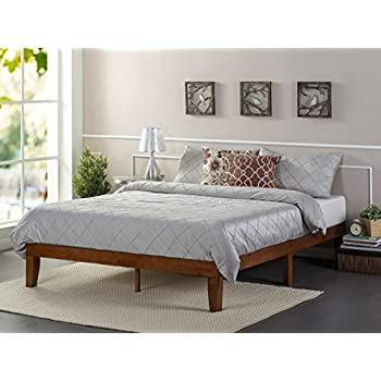 zinus 12 inch wood platform bed no boxspring needed wood slat support cherry finish twin