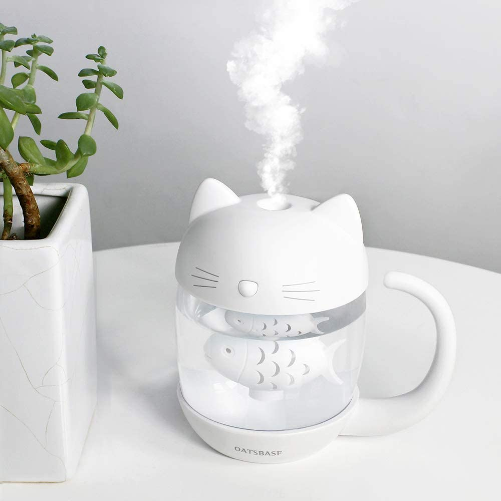 OATSBASF Ultrasonic Cool Mist Humidifier, Mini Humidifier 400ml Works For Up To 12 Hours with 7 Colors Night Light, for Bedroom, Baby Room,