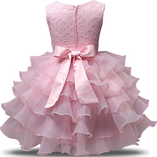 Nnjxd girl dress kids ruffles lace party wedding dresses for 12 month dresses for wedding