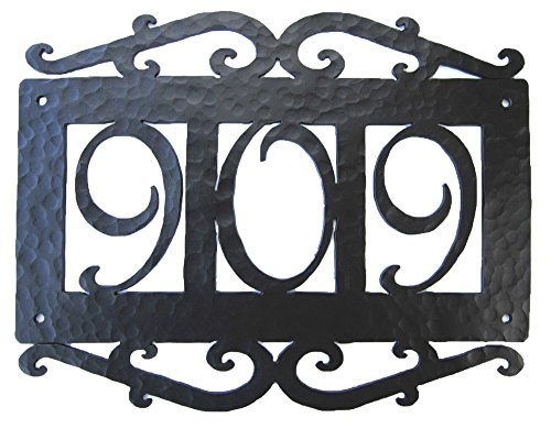 Bushere and Son Spanish Mediterranean Hammered Wrought Iron Address Plaque APH13 (Black)