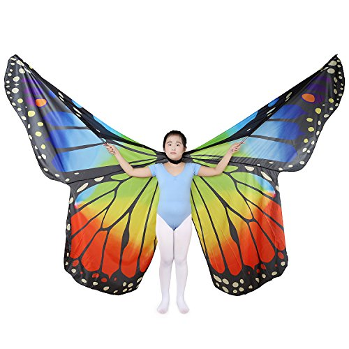 Children's Isis Costume (Dance Fairy Belly Dance Kids Butterfly Angel Isis Wings with Telescopic Sticks (Rainbow-Child))
