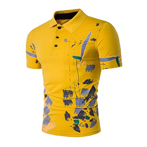 (Wintialy 2019 New Hot Men's Slim Sports Short Sleeve Casual Shirt T-Shirts Tee Tops Yellow)