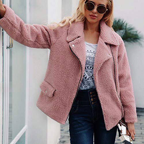 Winter Plush Long Fur Oversized Warm Cardigan Jacket Sleeve Fluffy Pink Tops Coat Womens Outerwear Overcoats Faux Zipper Parka dPx8E