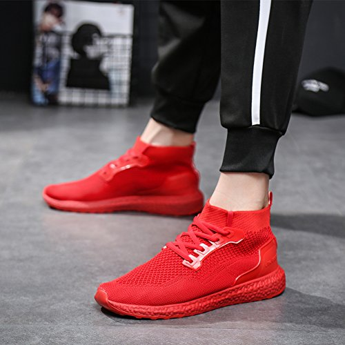 fereshte Unisex Adults' Ultra Lightweight Traniers Athletic Shoes Causal Mesh Walking Sneakers Cushioning Breathable Running Shoes Gym Fitness Sports Shoes,Man Need 1-1.5 Side up Red