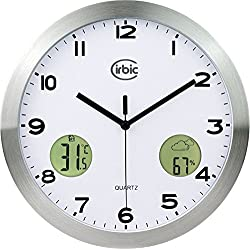 Wall Clock with digital Thermometer and Humidity meter, Round 12 Silent, Non-ticking by Cirbic (Aluminium/Silver)
