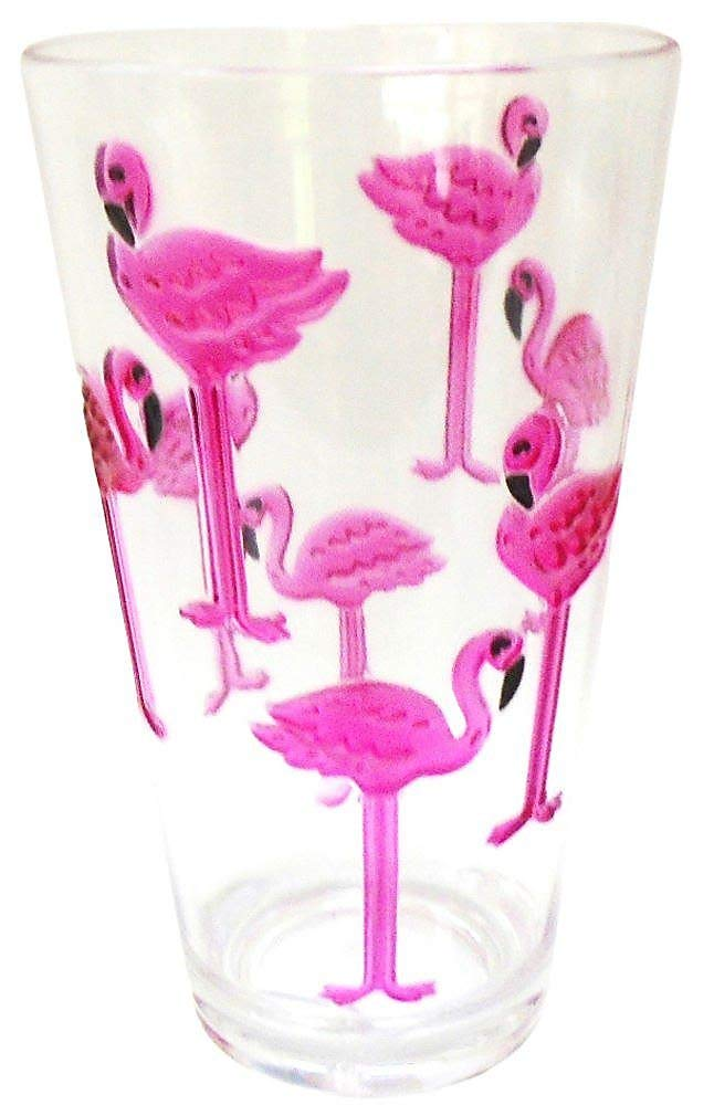 Coastal Home Flamingle Flamingo Highball Glass One Size Pink/green