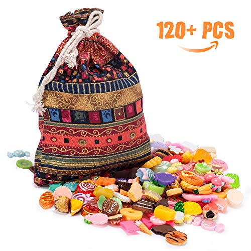 Joyjoz 120pcs Slime Charms Lucky Bag - Flat Back Resin Charms for Slime, Mixed Food, Candy Sweets, Cabochons Embellishment for DIY Craft Making, Scrapbooking Ornament with Handcrafted Lucky Bag       (Lucky Cake Charms)