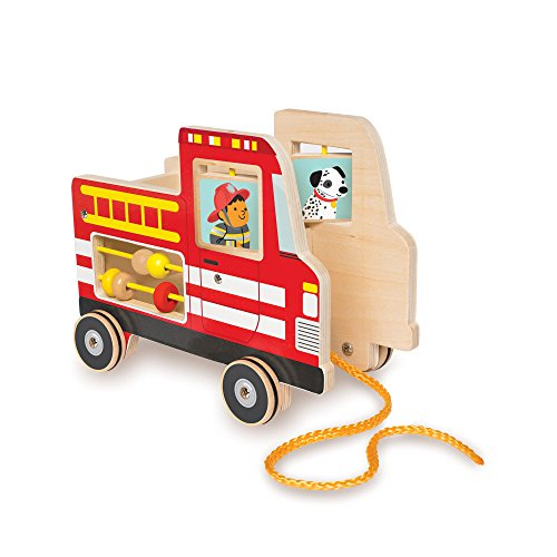 Manhattan Toy Fire Truck Wooden Pull Along Activity Toy and Shape Sorter for...