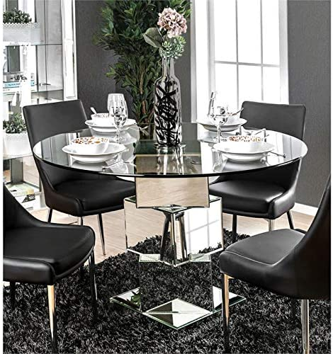Furniture Of America Cai Glass Top Mirrored Dining Table In Chrome Amazon Ca Home Kitchen
