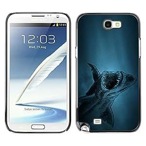TopCaseStore / la caja del caucho duro de la cubierta de protección de la piel - akula shark ryba fish - Samsung Galaxy Note 2 N7100
