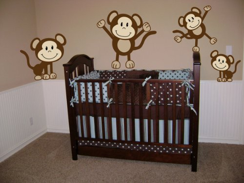 Monkeys Wall Decals Sticker Nursery Decor Art Mural - This Decal is Created By Digiflare Graphics, Original Product with Quality 100% Guaranteed!!!