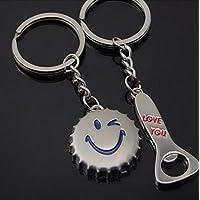 ddoq par llavero cerveza abridor de botellas de metal llavero de acero inoxidable 9,5cm (plata)