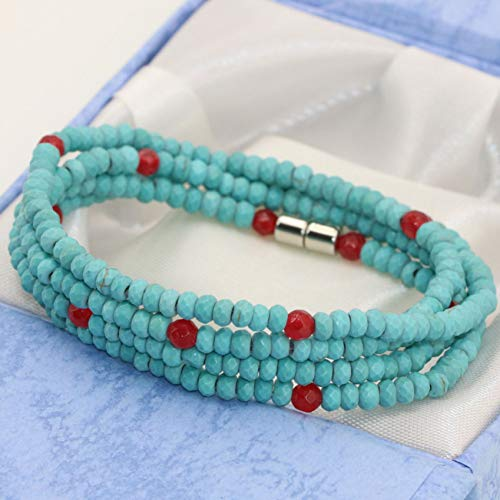 CTRCHUJIAN Bohemia Blue Turquoises Bracelets Long Multilayer 4Rows 24Mm Faceted Abacus Rondelle Beads Magnetic Clasp Jewelry