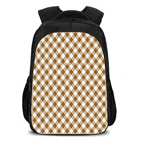 15.7'' School Backpack,Brown,Texture of Tartan Cloth Pattern Geometric Design Decorations for Home Theme Print,Brown White,for Teenagers Girls Boys by iPrint