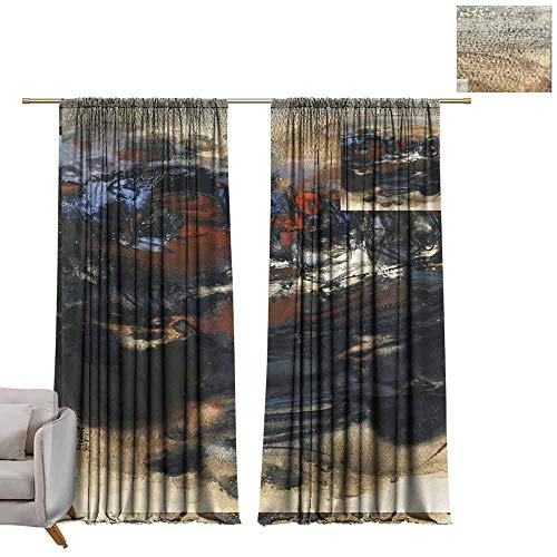 Adjustable Tie Up Shade Rod Pocket Curtain Abstract Modern Art (72) W84 x L108 Blackout Draperies for Bedroom Kitchen