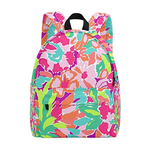 ANINILY Lilly Pulitzer Pattern School Bacpack Lightweight Canvas Backpacks for Women Daypacks Rucksack Bookbags