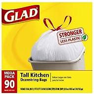 Glad Tall Kitchen Drawstring Trash Bags, 13 Gallon,...