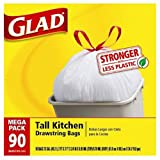 Image of Glad Tall Kitchen Drawstring Trash Bags, 13 Gallon, 90 Count