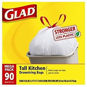 Glad Tall Kitchen Drawstring Trash Bags 13 Gallon 90 Count Health Personal Care