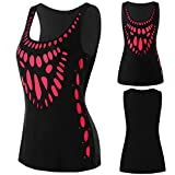 BXzhiri Vest for Women Footprint Printing Cut Out Round Neck Tunic Blouse Crop Tops T- Shirt Camis Black
