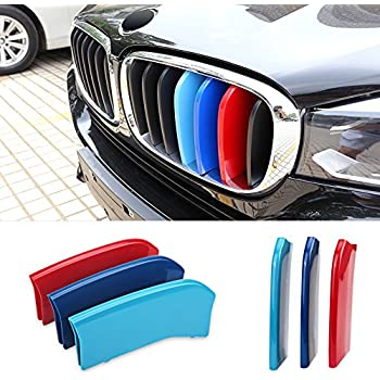 VANJING M-Colored Stripe Grille Insert Trims for 2011-2013 BMW F10 5 Series 528i 535i 550i Kidney Grills