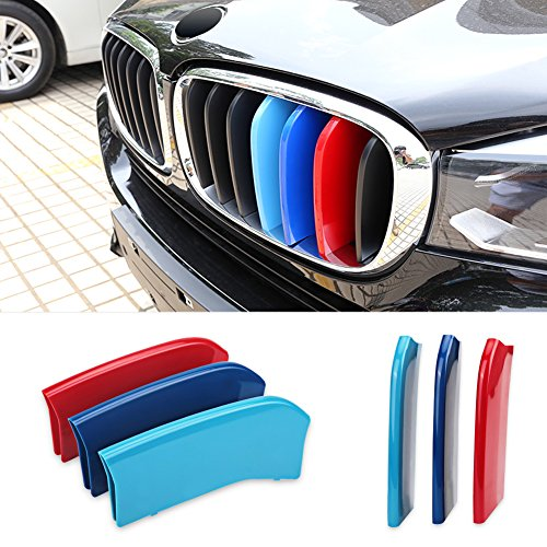 Colored Inserts - VANJING M-Colored Stripe Grille Insert Trims for BMW 2014 2015 X 5, 2015 X 6 Center Kidney Grill