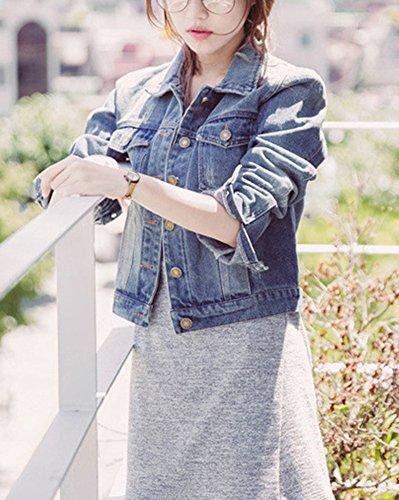Giacca Runyue Corta Manica Risvolto Donna Lunga Denim Classico Jacket Jeans Con In Basic 5IqHrwq