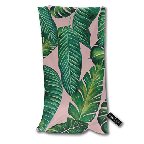Yuteea Jungle Leaves Banana Monstera ii Pink Dish Towels Funny Tea Towels Kicthen Towel Gift Dishcloth Bath Towel 11.8x27.5inches