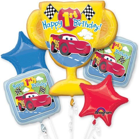 DISNEY CARS 1ST birthday balloons BOUQUET winners award party supplies race (Awards Party Supplies)