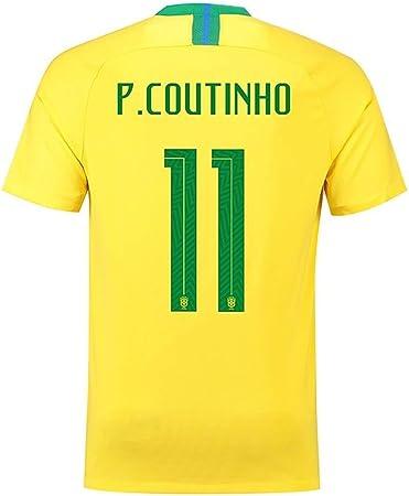 Scshirt Camiseta de fútbol para Hombre de la Copa del Mundo de Brasil de la selección número 11 Coutinho, Talla M, Color Amarillo: Amazon.es: Deportes y aire libre