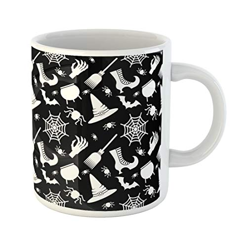 Semtomn Funny Coffee Mug Abstract Halloween Flat Cartoon Cauldron Cobweb Color Dark Geometric 11 Oz Ceramic Coffee Mugs Tea Cup Best Gift Or Souvenir]()