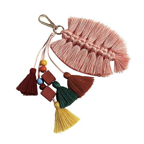〓Londony〓 Colorful Boho Pom Pom Tassel Bag Charm Key Chain Colorful Boho Charm Key Ring, Fashion Accessories for Women Pink