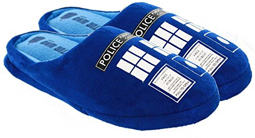 Doctor Who Womens TARDIS Plush Slippers (Blue, Small Size 8 US)