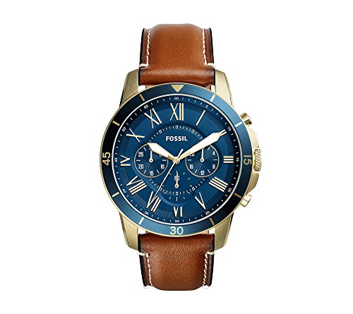 Fossil Men's 44mm Grant Sport Chronograph Watch with Leather Strap