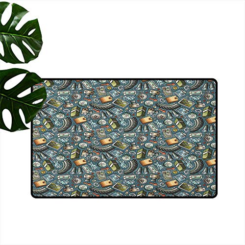 LilyDecorH Explore,Office Floor mats Cartoon Traveling Pattern with Coins Credit Cards Compass and Roads Doodle Design 31