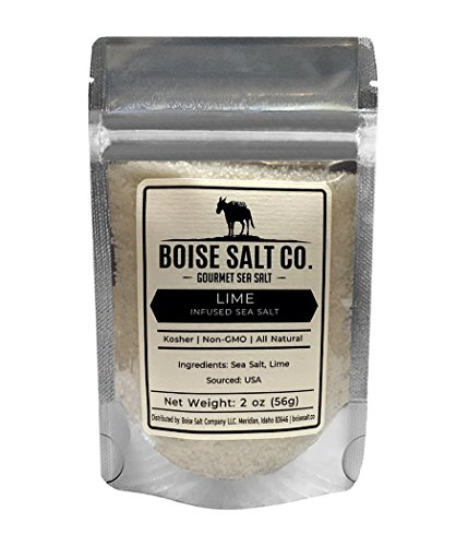 Boise Salt Co. Lime Infused All-Natural Premium Sea Salt (Flake) - 2 Ounce Pouch