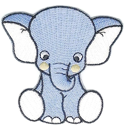 2.75 inches x 2.75 inches Blue Baby Elephant Cartoon Sew Iron on Embroidered Applique Craft Handmade Baby Kid Girl Women Cloths DIY Costume (Diy Baby Money Bag Costume)