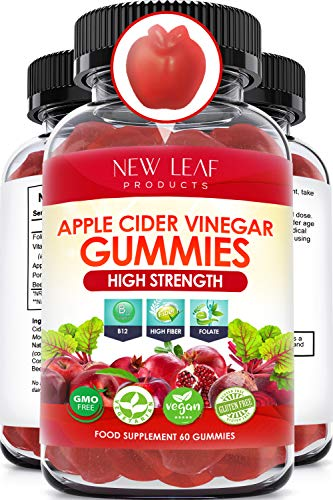 Apple Cider Vinegar Vegan Gummies with The Mother High Strength + Vitamin B12 Folate Pomegranate & Beetroot – Fresh Pure…
