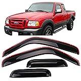Window Visor Fits 1999-2011 Ford Ranger Mazda | Slim Style Acrylic Smoke Tinted 4PC Sun Rain Shade Guard Wind Vent Air Deflector by IKON MOTORSPORTS | 2000 2001 2002 2003 2004 2005 2006 2007 2008