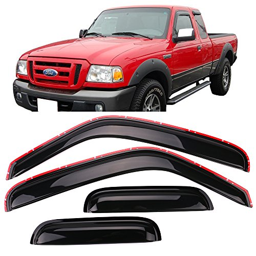 Window Visor Fits 1999-2011 Ford Ranger Mazda | Slim Style Acrylic Smoke Tinted 4PC Sun Rain Shade Guard Wind Vent Air Deflector by IKON MOTORSPORTS | 2000 2001 2002 2003 2004 2005 2006 2007 2008 (Vent Wind)