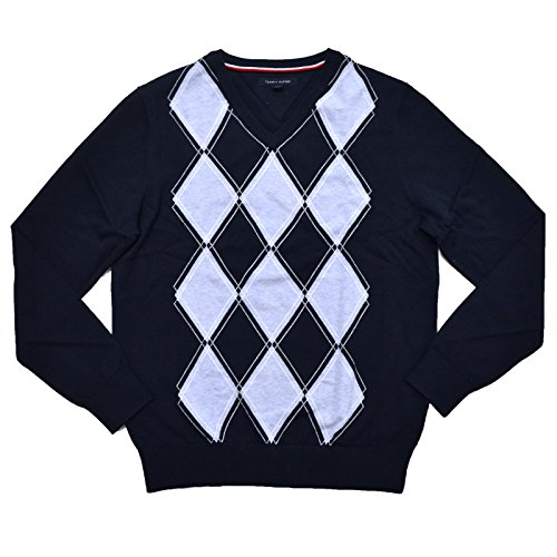 (Tommy Hilfiger Mens Argyle Pullover Sweater (Small, Navy Blue))