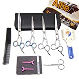 Alfie Pet by Petoga Couture - 11-piece Pet Home Grooming Kit - Upward and Downward Curved, Straight, Thinning Shears, Round-Tip Scissors, Razor Comb Trimmer, Travel Case Set