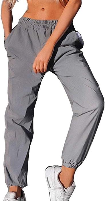 7c2c82d307c Hommes Réfléchissant Pantalon Femme Pantalon de Sport Jogging Taille Haute  Elastique avec Poches